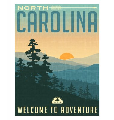 Póster Cartel del viaje del estilo retro o pegatina. Estados Unidos, Carolina del Norte, Grandes Montañas Humeantes