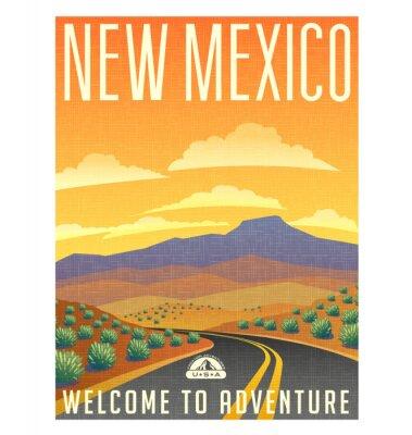 Póster Cartel del viaje del estilo retro o pegatina. Estados Unidos, New Mexico paisaje desértico de montaña.