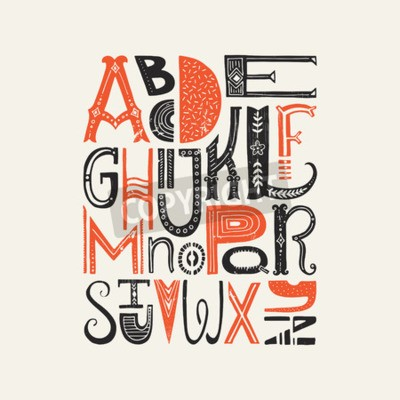 Póster Cartel del vintage con las letras latinas únicas del alfabeto. Vector fuente o diseño de tipografía.