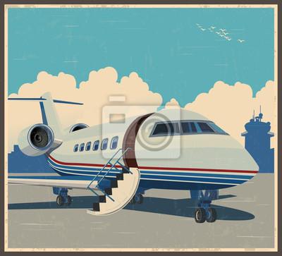 Cartel retro de la aviación privada