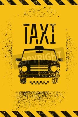 Póster Cartel retro de la cabina de taxi del grunge de la pintada tipográfica. Ilustración del vector.