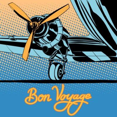 Cartel retro del aeroplano del viaje del viaje de Bon