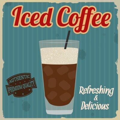 Póster Cartel retro helado del café