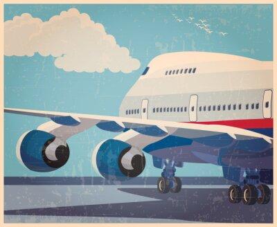 Póster Cartel viejo de los aviones civiles grandes