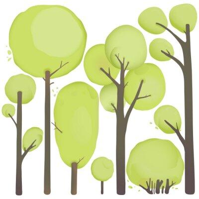 Póster Cartoon Acuarela árboles Set
