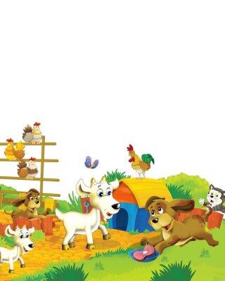 Póster Cartoon farm scene with animal goat having fun on white background - illustration for children