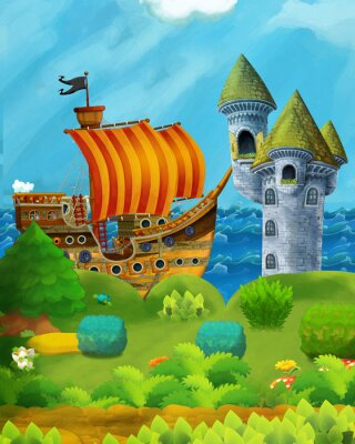 Póster cartoon forest scene with prince and princess standing on path near the forest and sea shore and pirate ship is docked hidden and castle tower - illustration for children