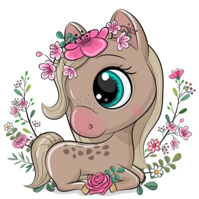 Póster Cartoon Horse with flowers on a white background