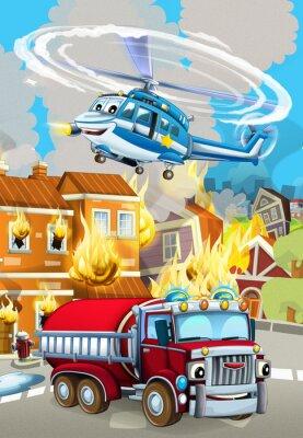 Póster cartoon scene with fireman car vehicle near burning building - illustration for children