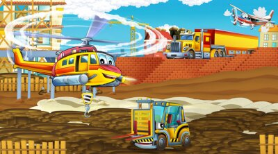 Póster cartoon scene with industry cars on construction site and flying helicopter - illustration for children