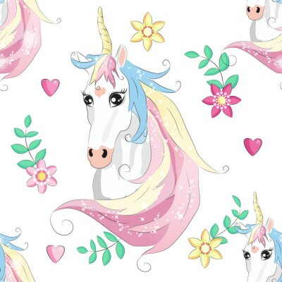 Póster Cartoon seamless pattern. Unicorn with rainbow and clouds. For designed print.