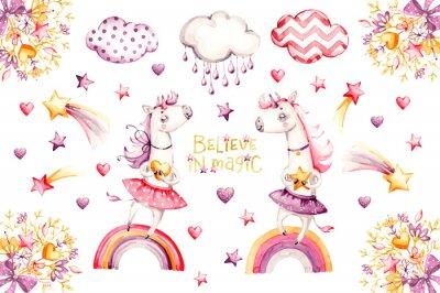 Póster Cartoon unicorn set. watercolor for decoration design. Funny pink animal princess collection. Princess rainbow poster. Nursery cute print. Decoration element. Magic fantasy design.