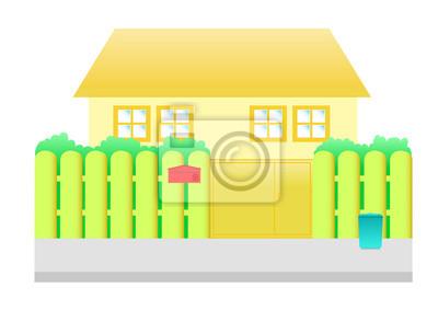Póster Casa De Color Naranja Escena De Dibujos Animados