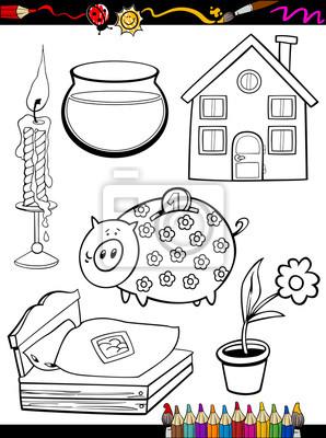 Póster Casa De Dibujos Animados Para Colorear Objetos