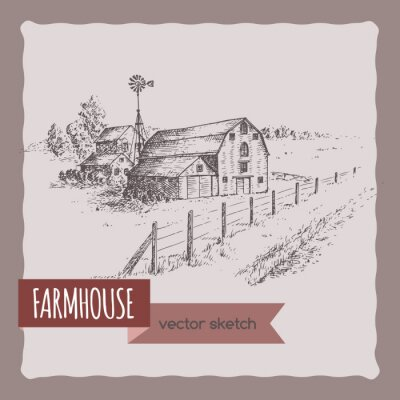 Póster Casa de granja de América, granero y pastura vector de bosquejo.