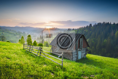 Casa de madera en la colina verde