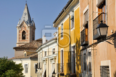Casas De Colores Antiguas Fachadas En Cuenca Espana Carteles Para - Fachadas-antiguas-de-casas