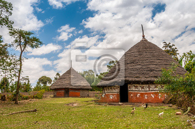 Casas en el campo etíope