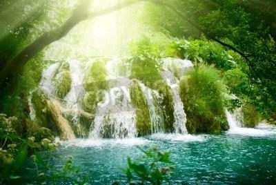 Póster cascada en el bosque profundo