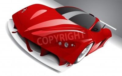Póster casi de carreras de coches de color rojo, en capas, totalmente editable