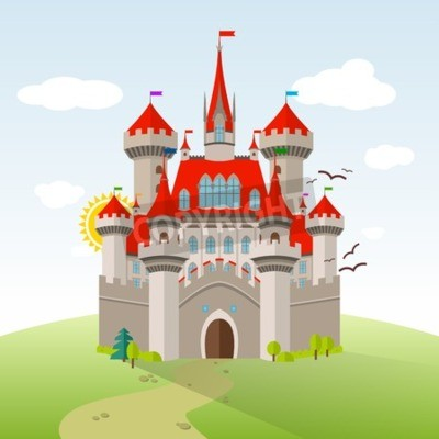 Póster Castillo de cuento de hadas. Ilustración Del Niño De La Imaginación Del Vector. Paisaje plano con árboles verdes, hierba, camino, piedras y nubes