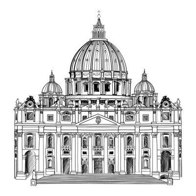 Póster Catedral de San Pedro, Roma, Italia. Arquitectura vaticana.