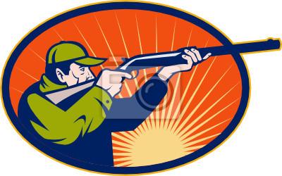 Cazador que apunta el rifle vista lateral escopeta