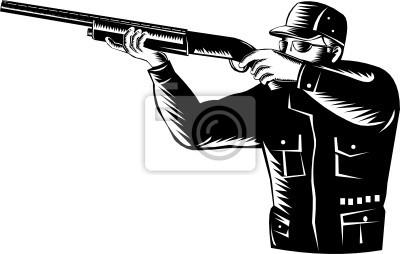Cazador que apunta un rifle