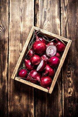 Póster Cebolla roja fresca en una vieja caja.