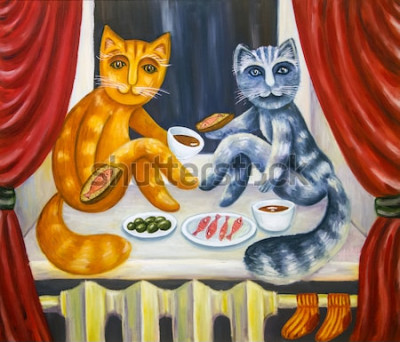 Póster Cena romántica para gatos. Una gata y una gata juntas cenan en el alféizar de la ventana. Mascotas en el interior del apartamento. Pintura al óleo. Obra artesanal.