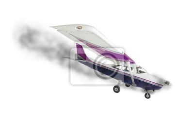 Cessna 172 con el humo que viene de motor en blanco