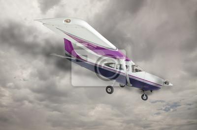Cessna 172 con humo procedente del motor contra el cielo gris