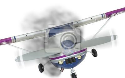Cessna 172 frente con humo procedente del motor en blanco