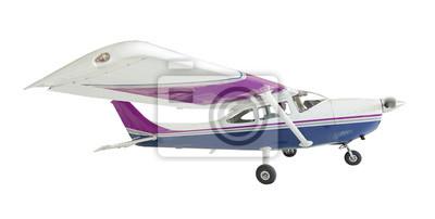 Cessna 172 Un solo avión de la hélice en blanco