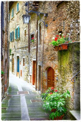 Póster charming old streets of medieval towns of Italy