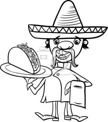 Chef mexicana con tacos para colorear carteles para la pared ...