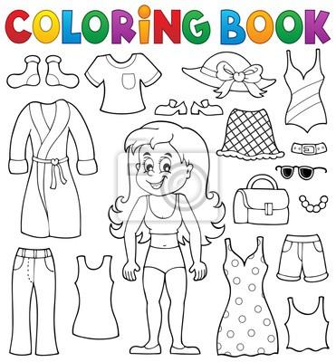 Chica libro para colorear con el tema de la ropa 1 carteles para la ...