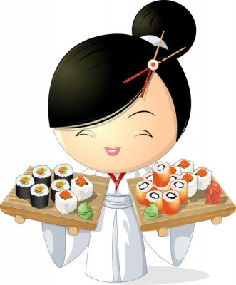 Póster chica sushi