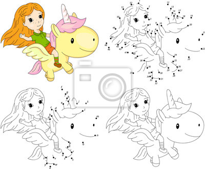 Póster Chica Y Unicornio Libro Para Colorear Y Juego Punto A Punto