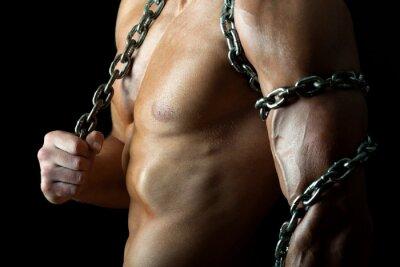 Póster Chico guapo y musculoso con la cadena