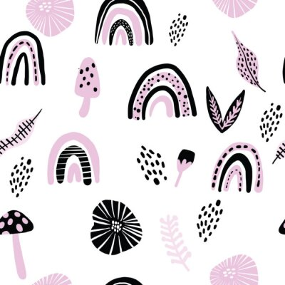 Póster Childish seamless pattern with hand drawn rainbow scribbles mushrooms and dots. Trendy kids vector background.