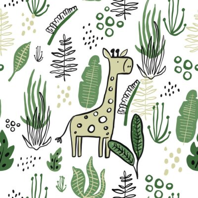 Póster Children Tropical seamless leaves pattern with giraffe. Vector illustration. Stylish repeating texture. Repeating texture with leaves.