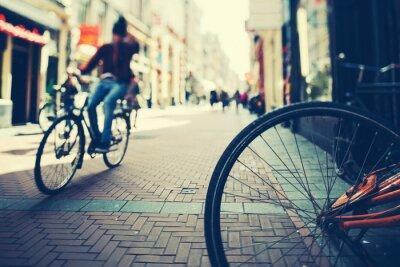 Póster Ciclismo en Amsterdam en la puesta del sol