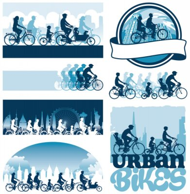 Póster Ciclistas urbanos etiquetas siluetas vectoriales editables