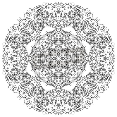Póster Circle ornament, black and white ornamental round lace