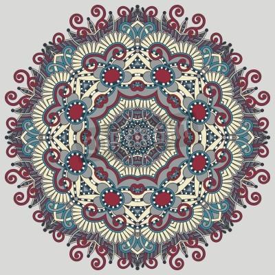 Póster Círculo de encaje ornamento, patrón geométrico pañito ornamental redondo