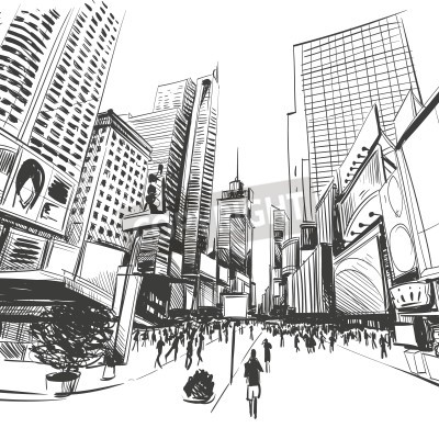 Póster City hand drawn, vector illustration