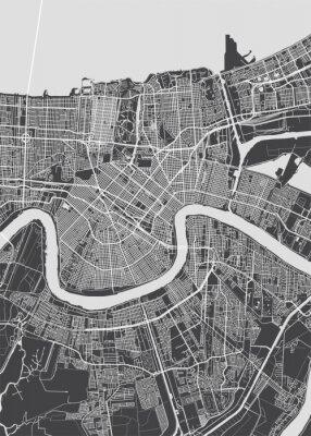 Póster City map New Orleans, monochrome detailed plan, vector illustration