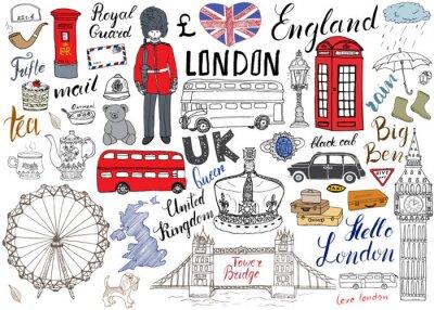 Póster Ciudad de Londres garabatos elementos colección. Conjunto de dibujado a mano con, puente de la torre, la corona, ben grande, guardia real, autobús rojo y taxi negro, Reino Unido mapa y la bandera, oll