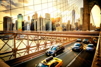 Póster Ciudad de Nueva York, horizonte puente de Brooklyn